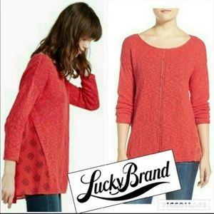 Lucky Brand Vibrant Woven Slub Knit Sweater M